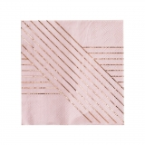 Amethyst-Pale Pink Striped Lunch Paper Napkins
