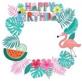 Happy Birthday Flamingo Theme Frame