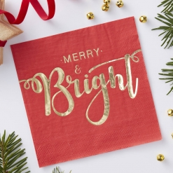 Merry and Bright Gold Foiled Napkins