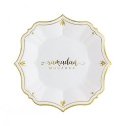 Ramadan Mubarak White Color Dessert Plates
